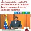 Venezuela: l'Ambasciatrice EU deve abbandonare il paese. Sanzioni EU anche verso settori dell'opposizione