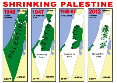 Carta 1: le tappe dell'espansione israeliana nella Palestina storica